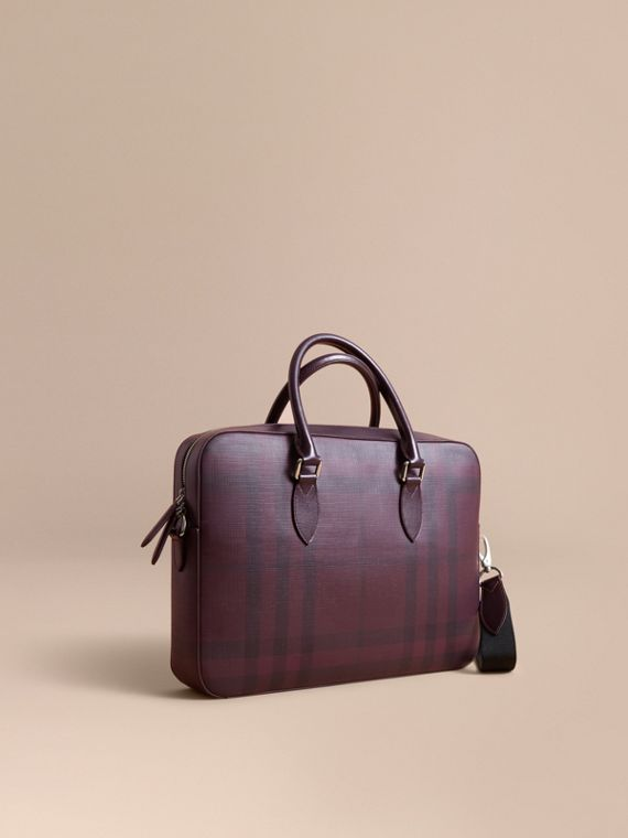 Medium Leather Trim London Check Briefcase in Deep Claret