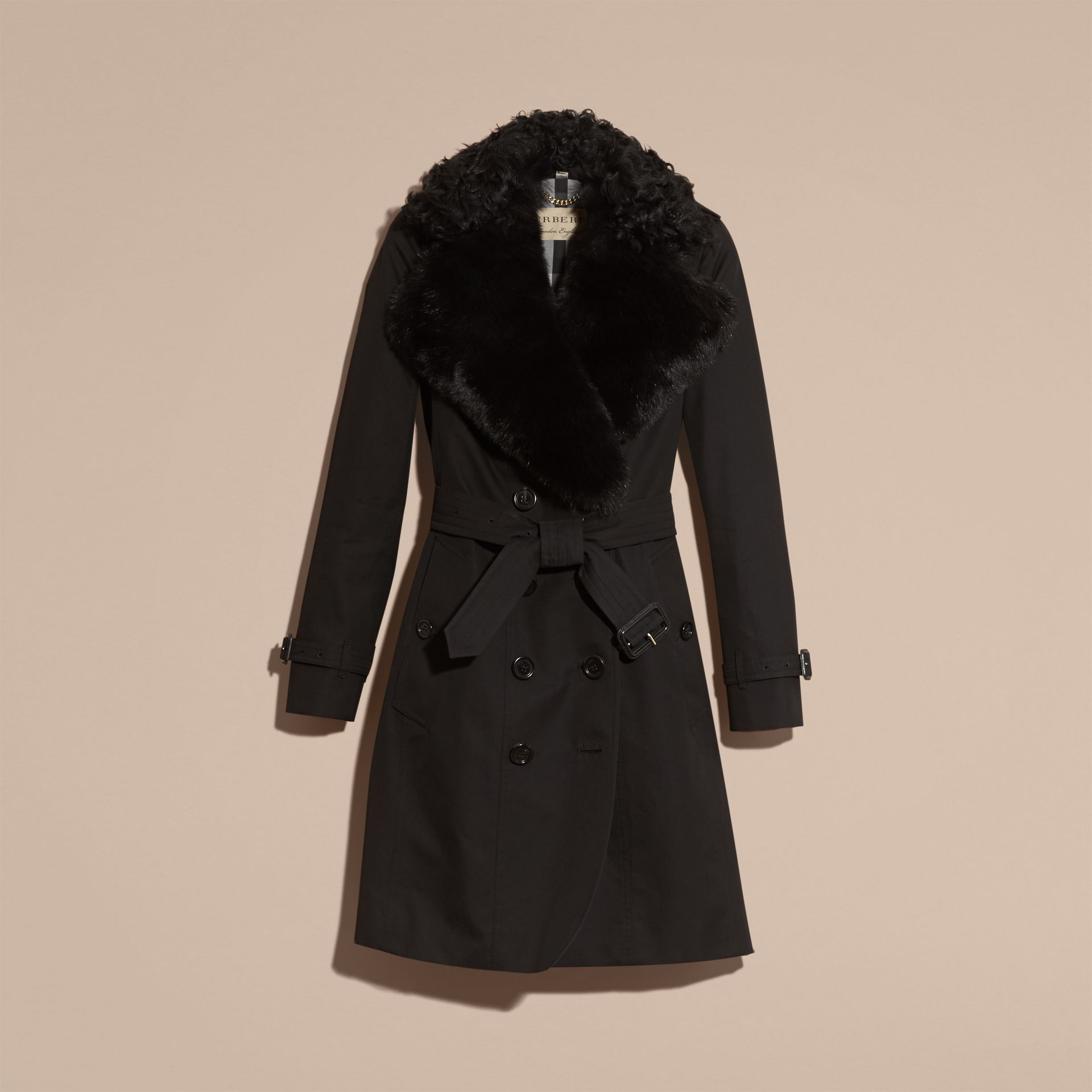 Black Cotton Gabardine Trench Coat with Detachable Fur Trim - gallery image 4