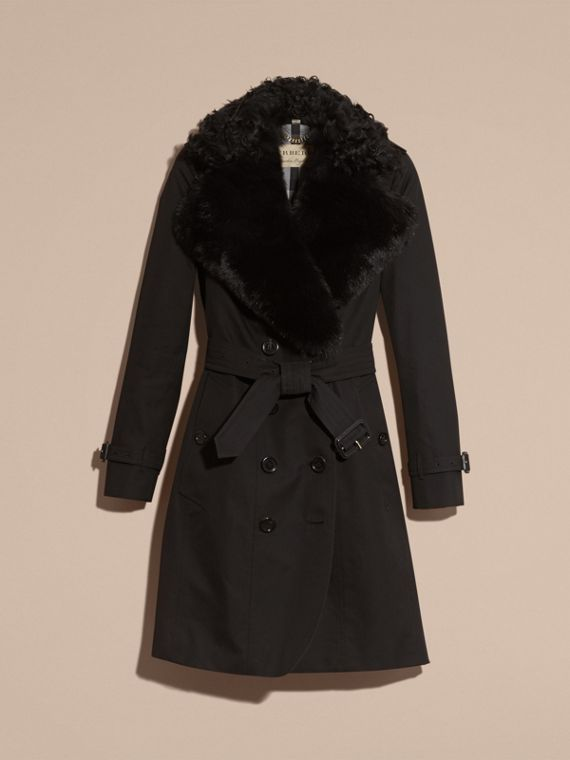Black Cotton Gabardine Trench Coat with Detachable Fur Trim - cell image 3