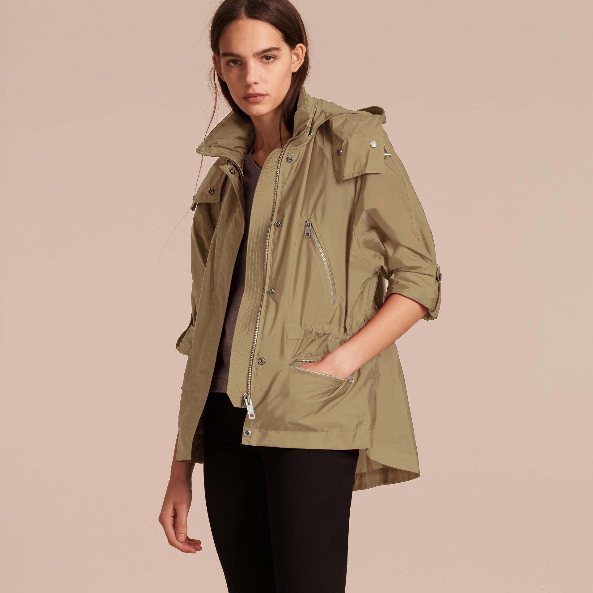 Showerproof Parka Jacket with Packaway Hood Sisal - gallery image 7
