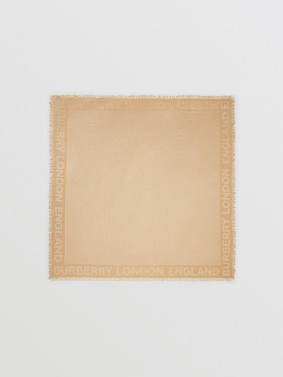Grand carré de soie et laine à fines rayures en cristaux (Miel)