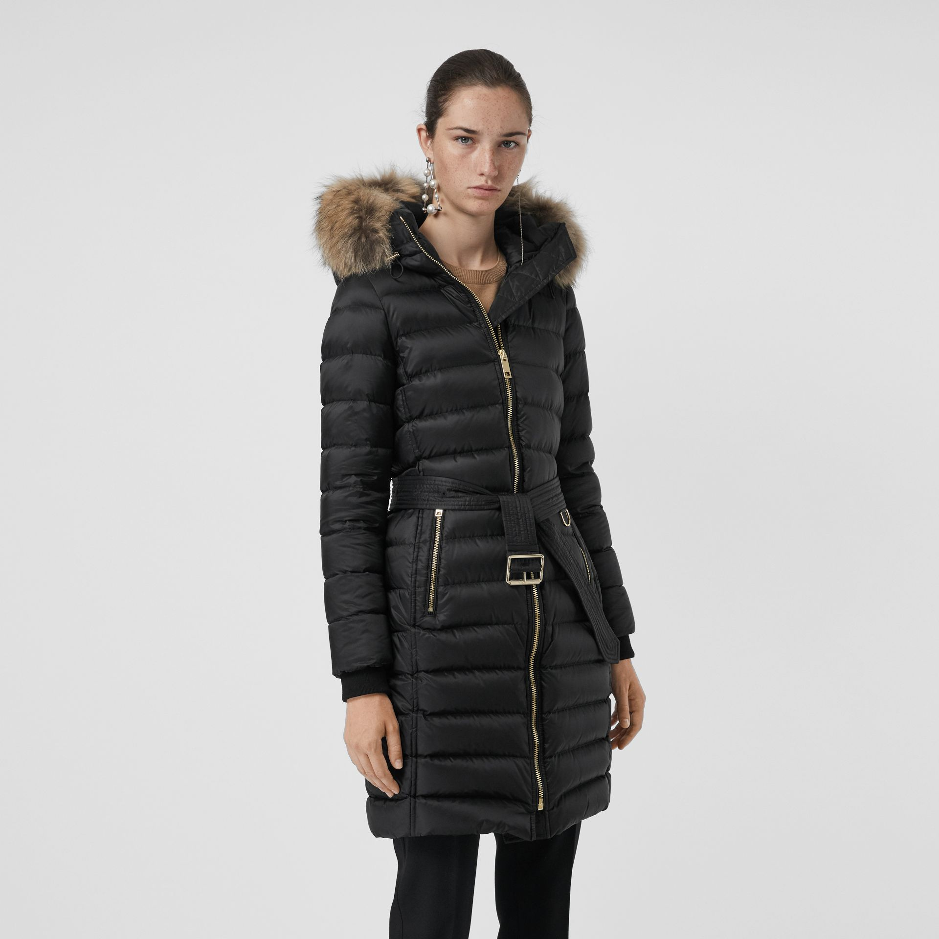 Detachable Fur Trim Down-filled Puffer Coat with Hood in Black - Women | Burberry - gallery image 5