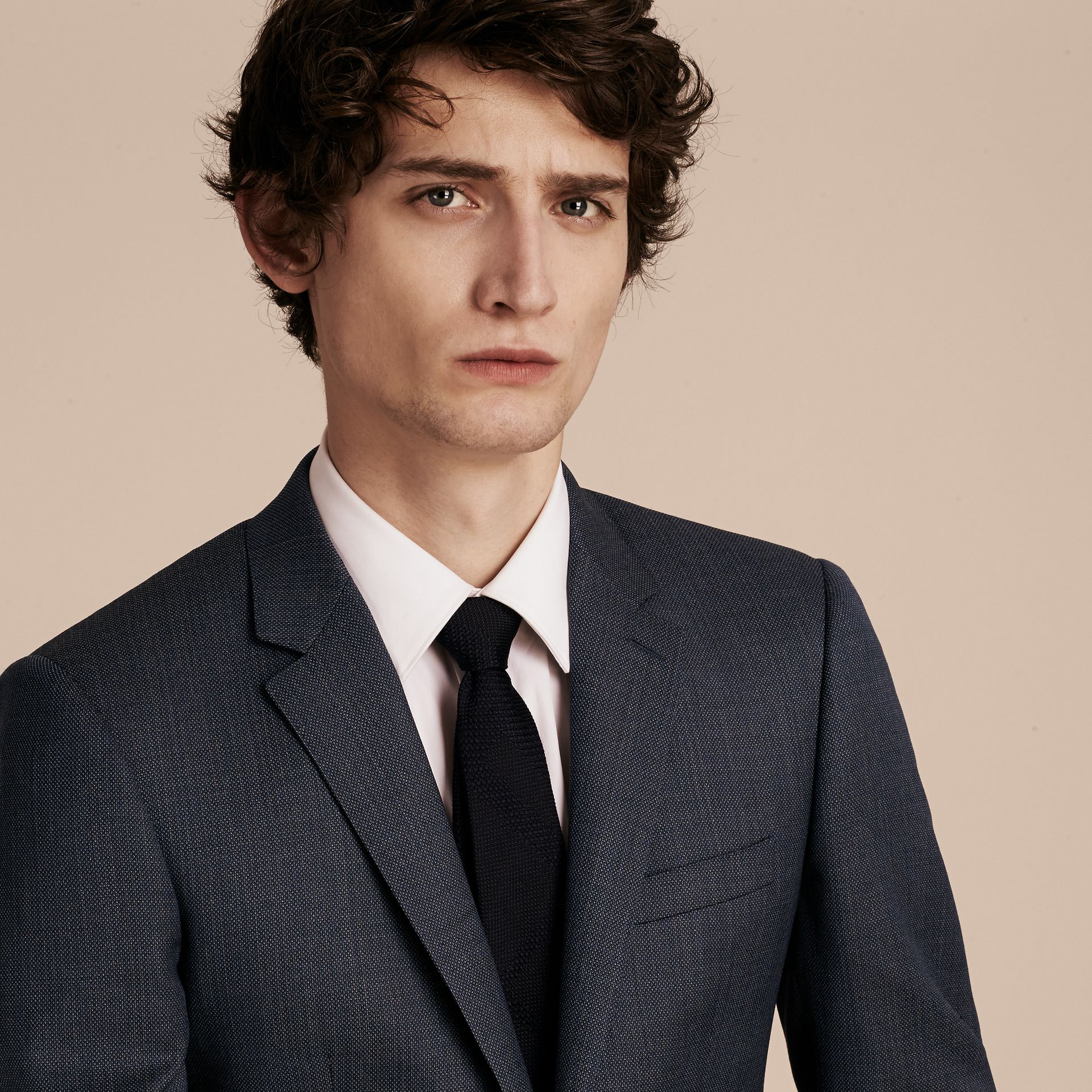 Steel blue Slim Fit Half-canvas Birdseye Wool Suit - gallery image 6