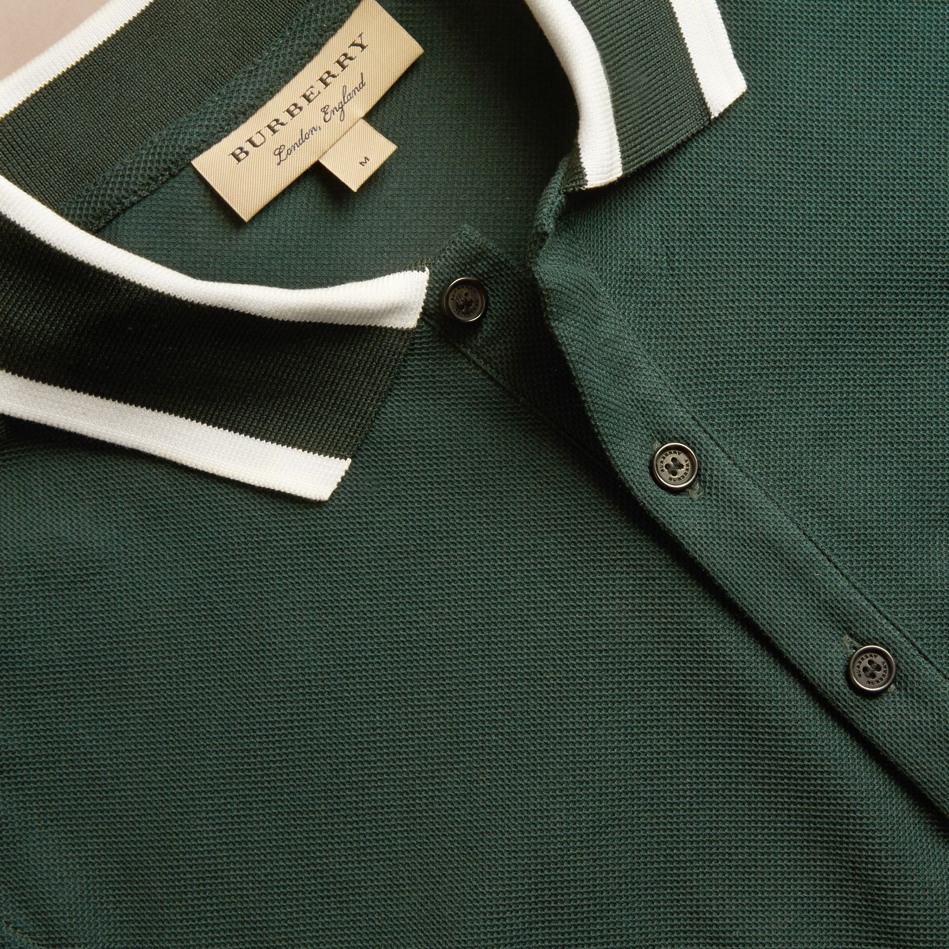 Racing green Striped Collar Cotton Piqué Polo Shirt Racing Green - gallery image 2