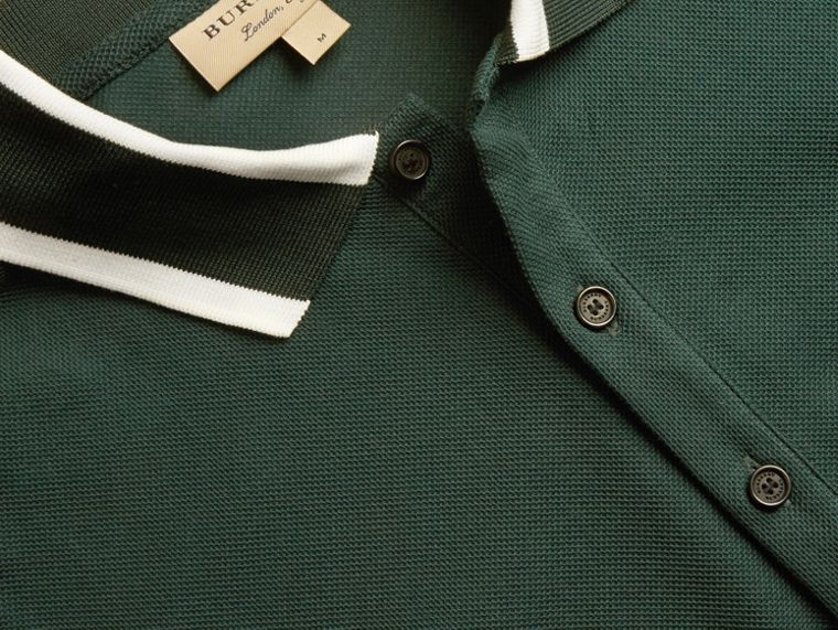 Racing green Striped Collar Cotton Piqué Polo Shirt Racing Green - cell image 1
