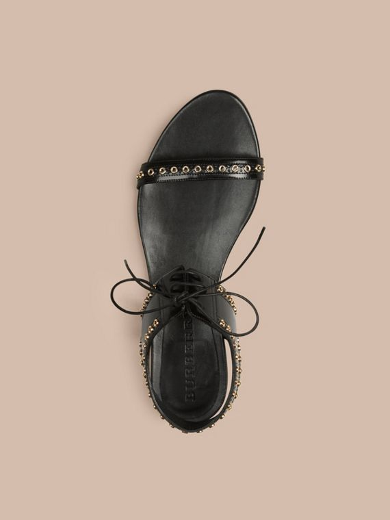 Black Online Exclusive Eyelet Detail Leather Lace-up Sandals - cell image 3