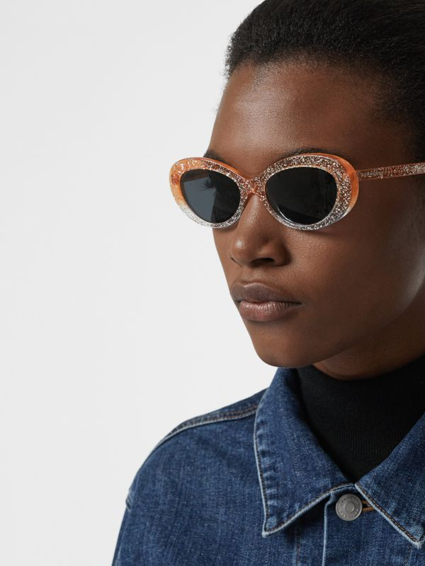 Glitter Detail Cat-eye Frame Sunglasses in Orange - Women | Burberry - cell image 2