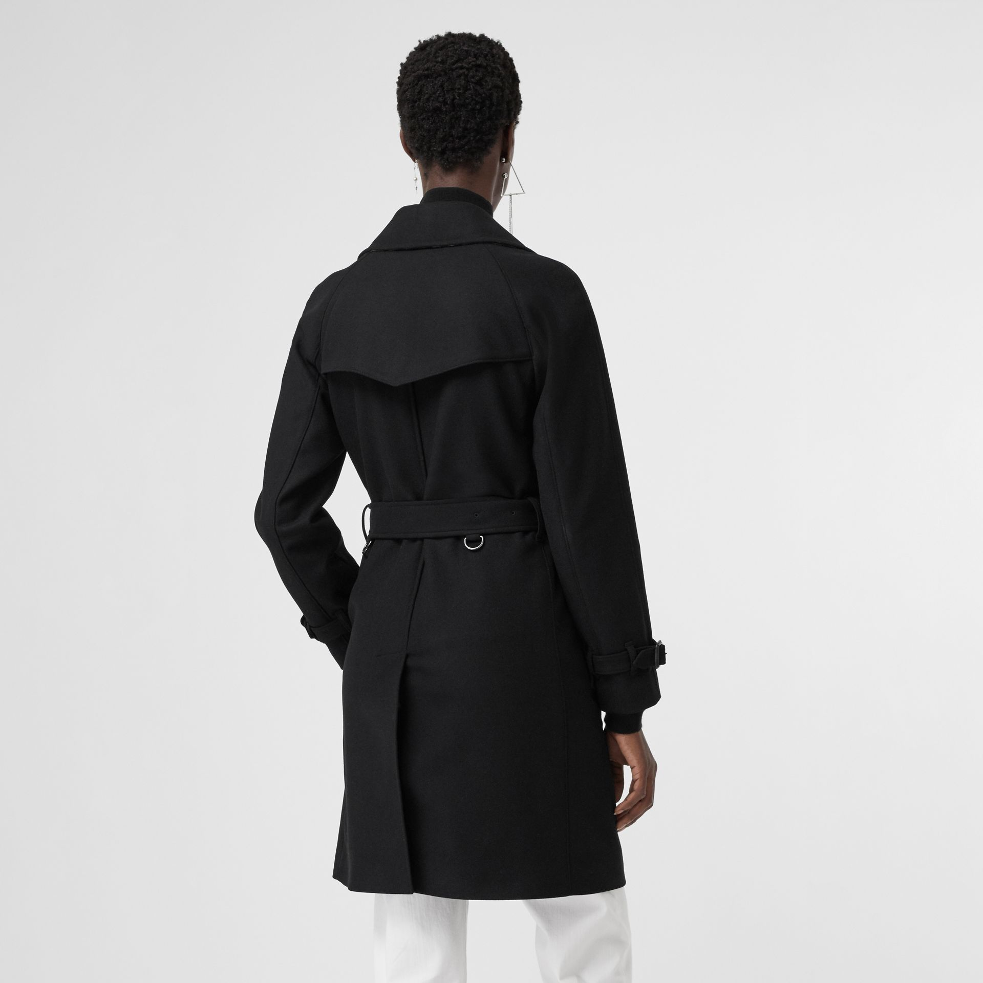 Herringbone Wool Cashmere Blend Trench Coat in Black - Women | Burberry - gallery image 2