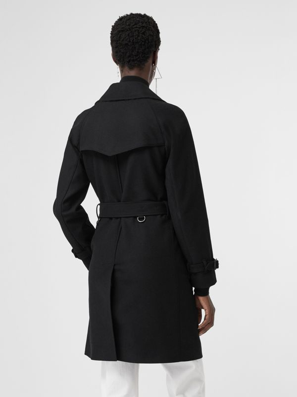 Herringbone Wool Cashmere Blend Trench Coat in Black - Women | Burberry - cell image 2