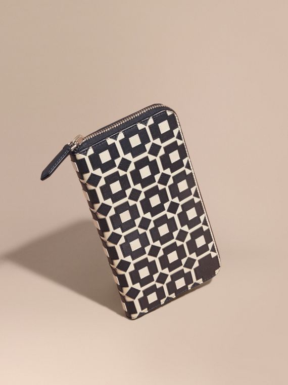 Geometric Appliqué Leather Ziparound Wallet
