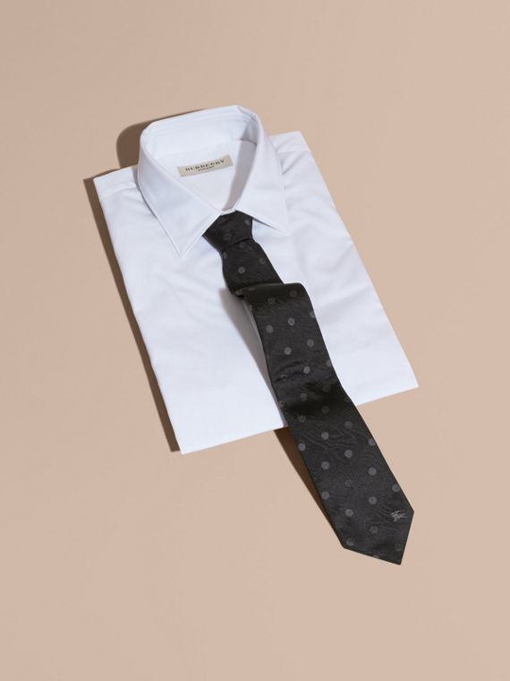 Modern Cut Polka Dot Silk Tie in Black - cell image 3