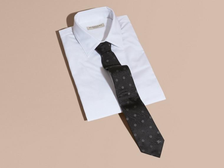 Preto Gravata de seda com estampa de poás e corte moderno Preto - cell image 2