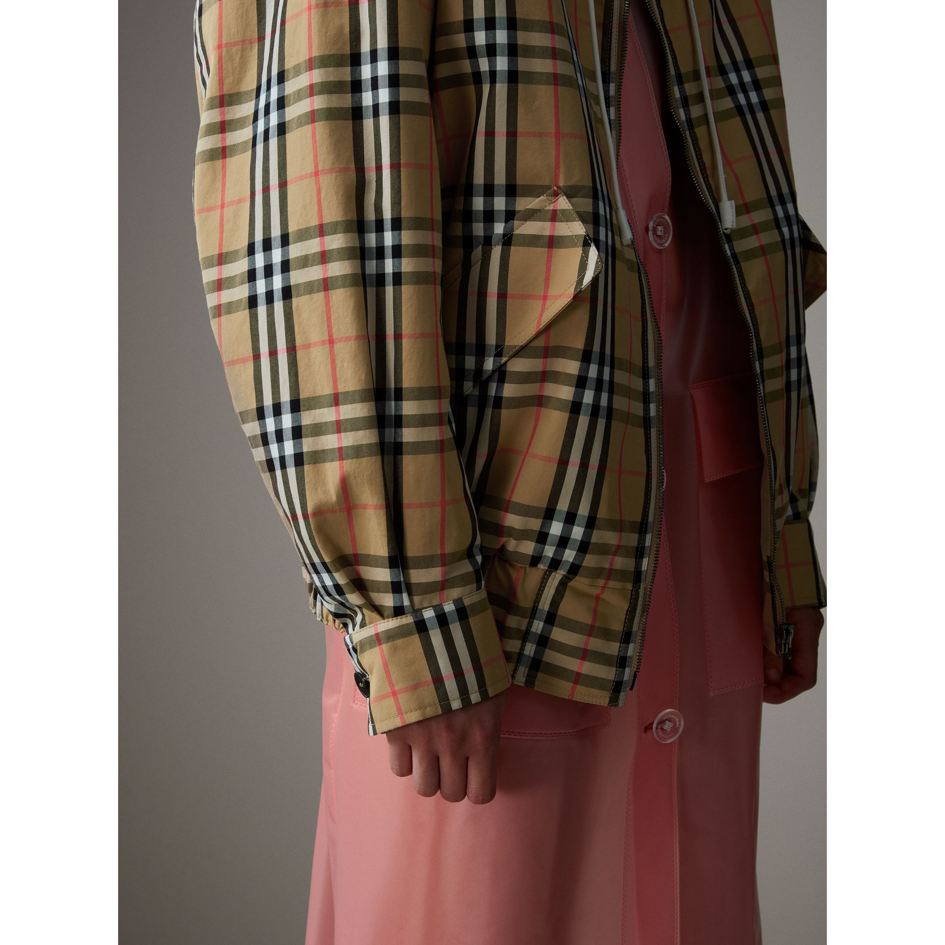 Vintage Check Gabardine Harrington Jacket in Antique Yellow - Women | Burberry Hong Kong - gallery image 4
