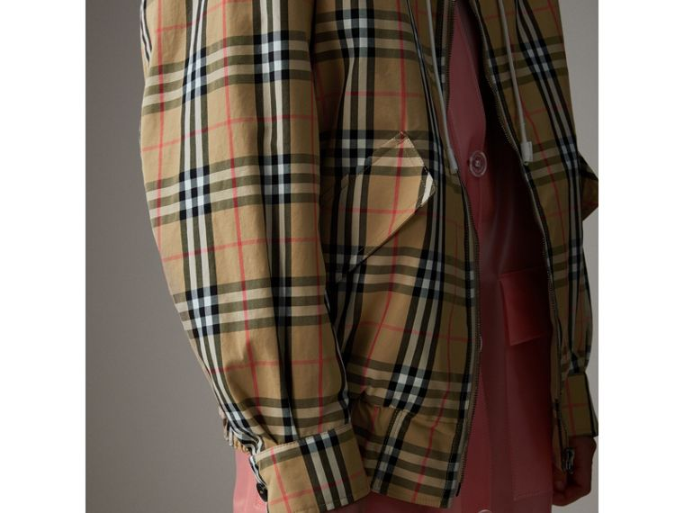 Vintage Check Gabardine Harrington Jacket in Antique Yellow - Women | Burberry - cell image 4