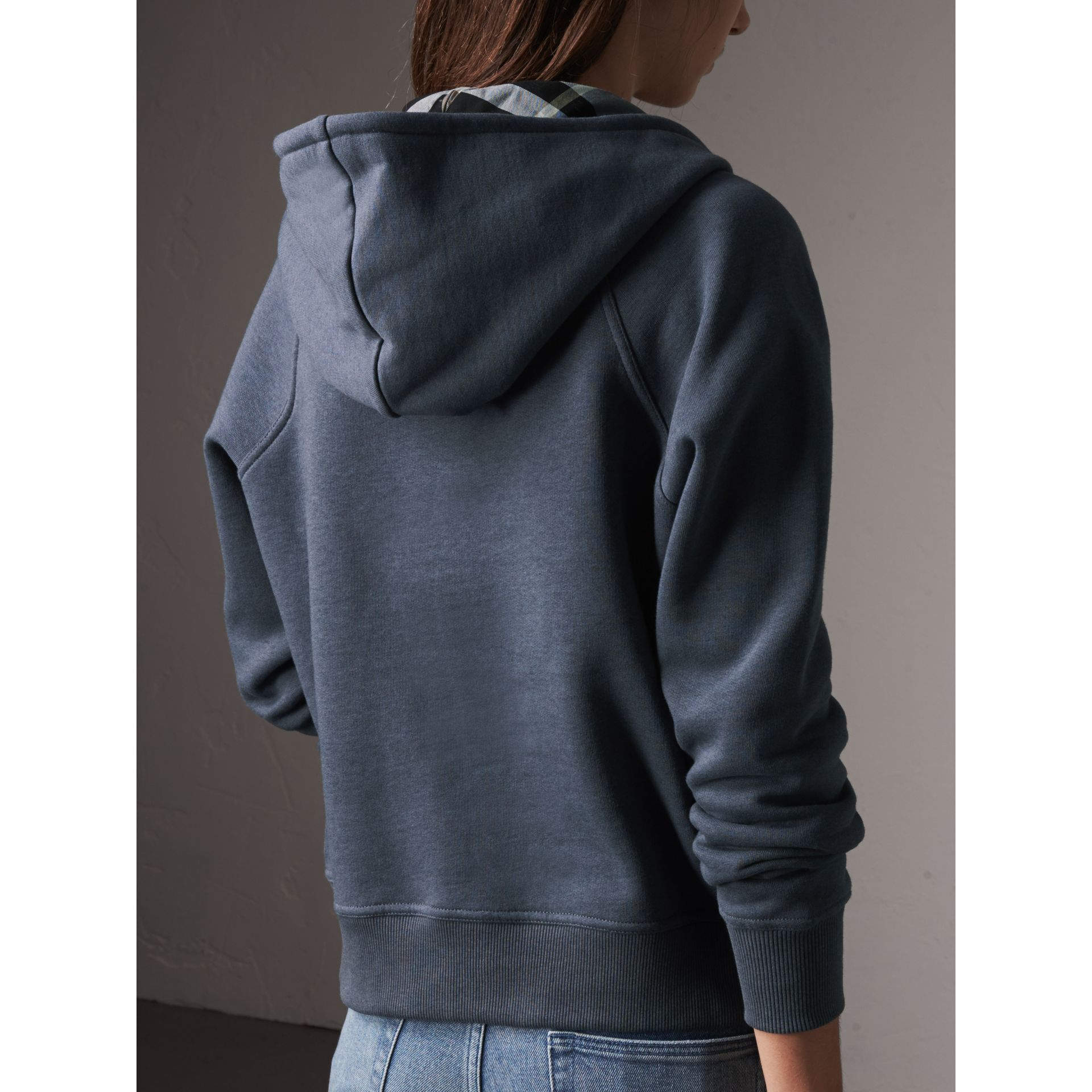 Hooded Cotton Blend Top in Storm Blue - Women | Burberry - gallery image 3