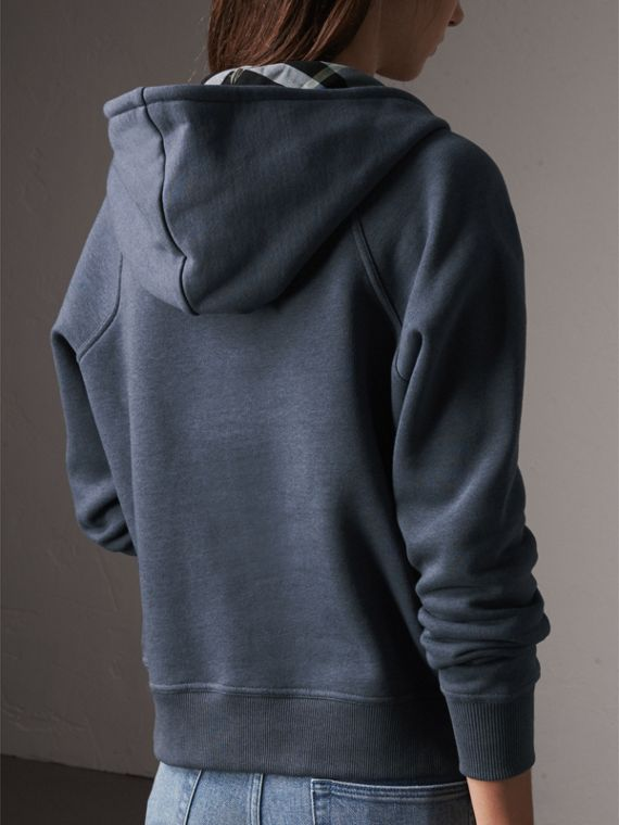Hooded Cotton Blend Top in Storm Blue - Women | Burberry - cell image 2