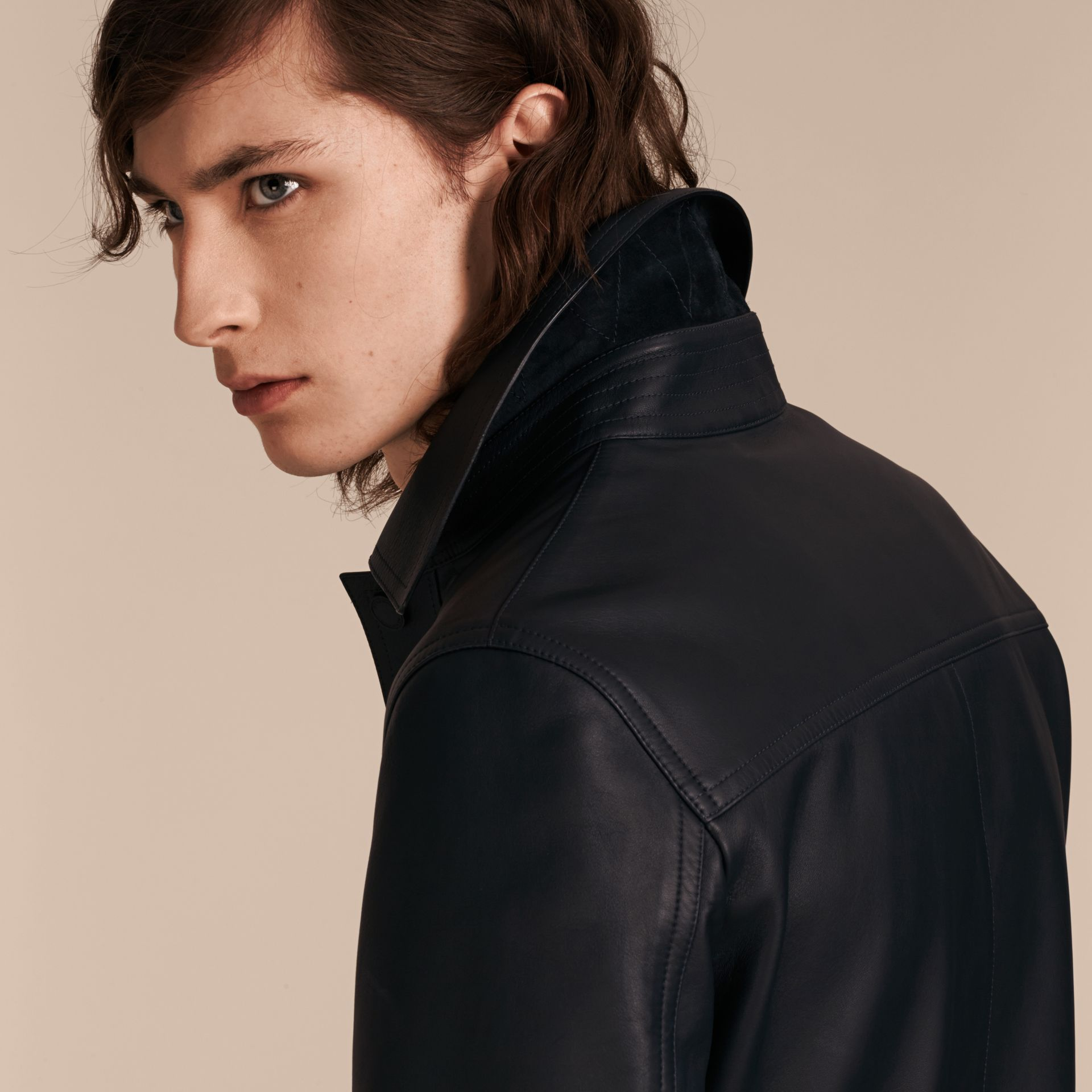 Navy Smooth Lambskin Jacket - gallery image 5