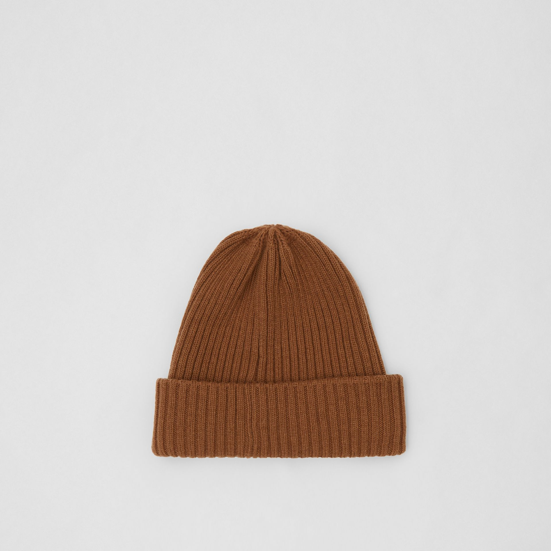 Rib Knit Wool Beanie in Maple | Burberry United Kingdom - gallery image 0