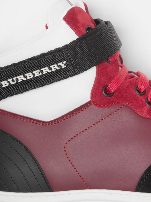 Leather and Suede High-top Sneakers in Burgundy Red - Men | Burberry - cell image 1