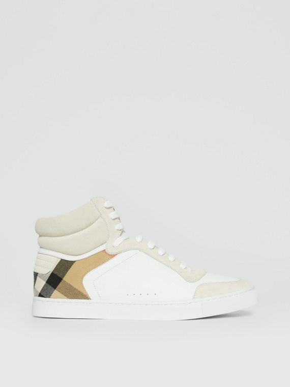 Leather, Suede and House Check High-top Sneakers in Optic White