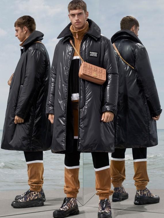 Car coat in nylon imbottito con collo a imbuto staccabile (Nero)