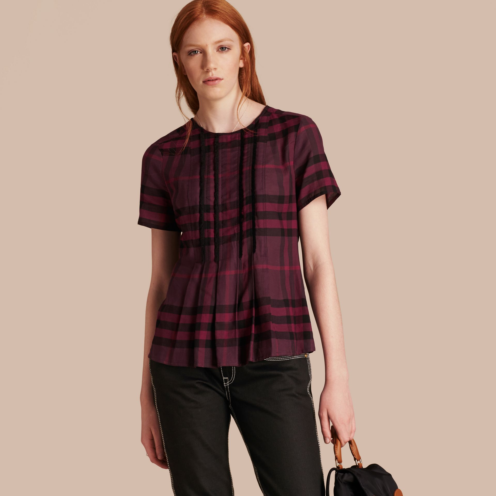 Blackcurrant Short-sleeved Fringed Check Cotton Top Blackcurrant - gallery image 6