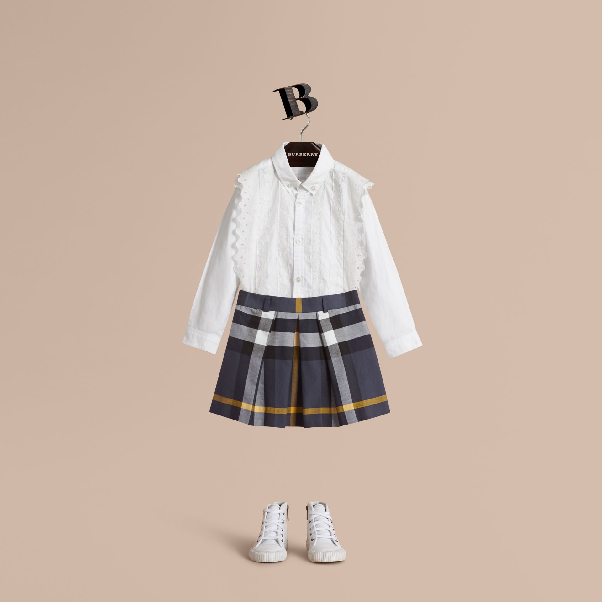Pleated Check Cotton Skirt in Pale Navy - Girl | Burberry - gallery image 1