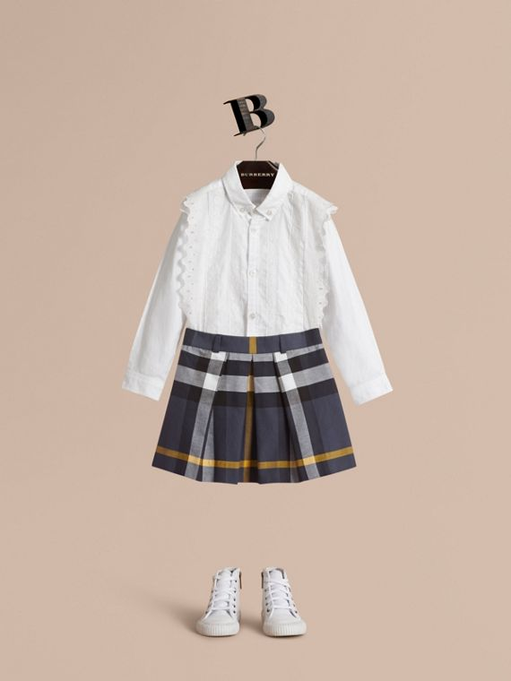 Pleated Check Cotton Skirt in Pale Navy