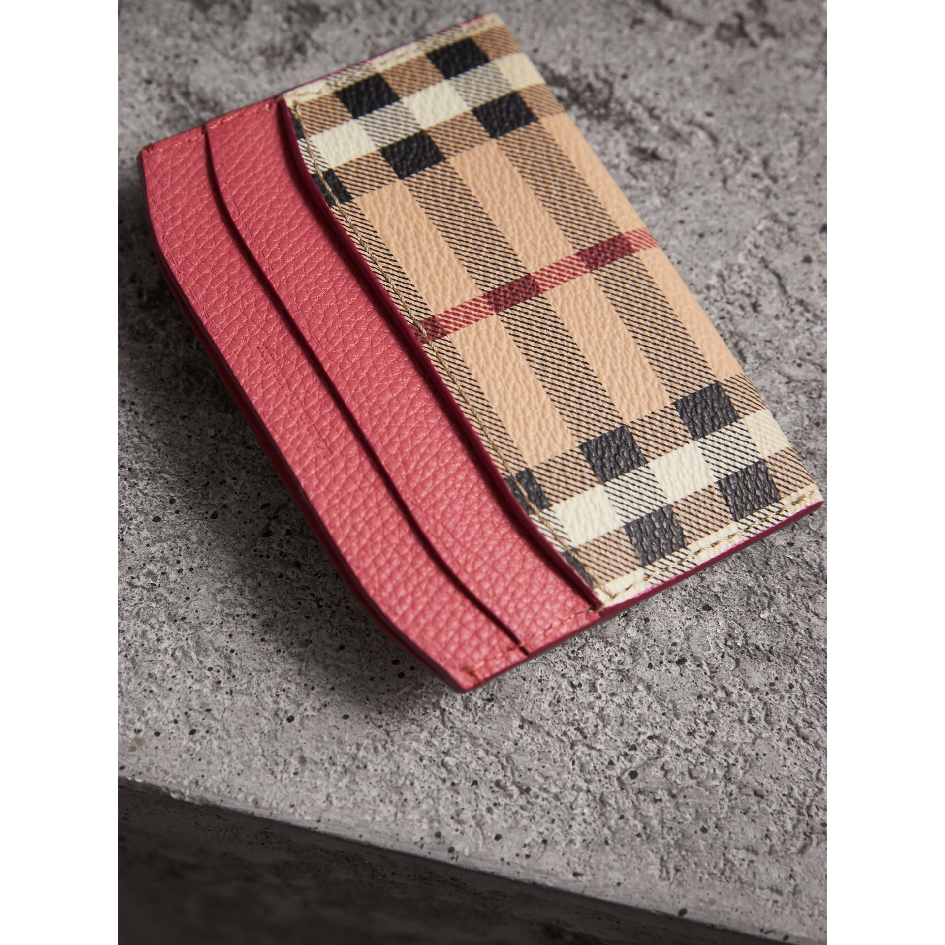 Haymarket Check and Leather Card Case in Plum Pink - Women | Burberry - gallery image 3