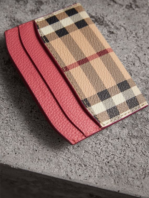 Haymarket Check and Leather Card Case in Plum Pink - Women | Burberry United Kingdom - cell image 2