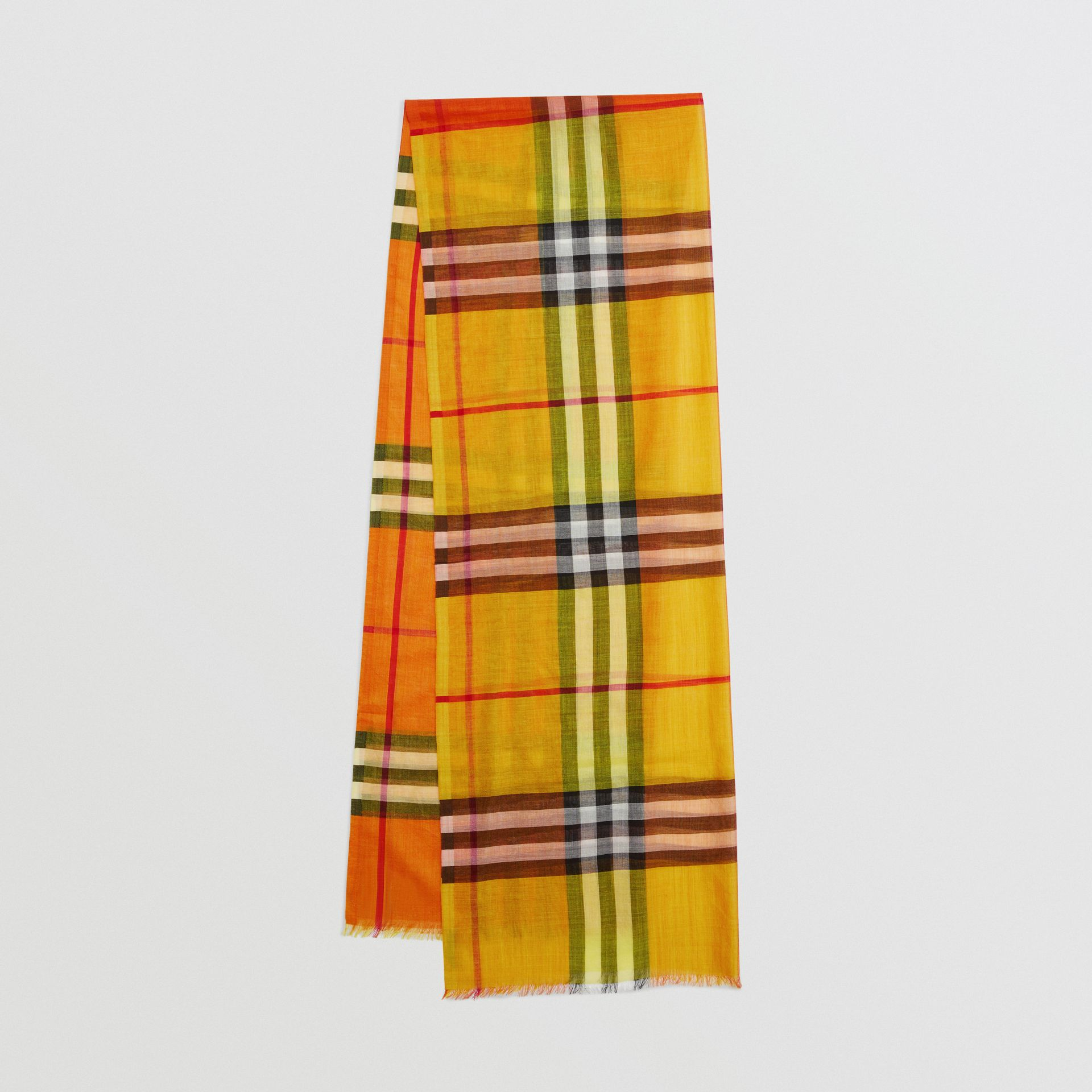 Colour Block Check Wool Silk Scarf in Amber Yellow | Burberry Singapore - gallery image 0