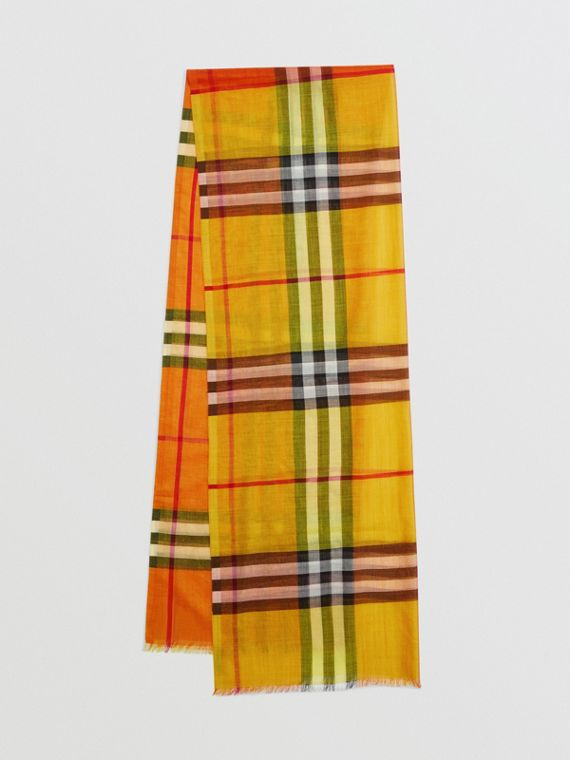 Colour Block Check Wool Silk Scarf in Amber Yellow