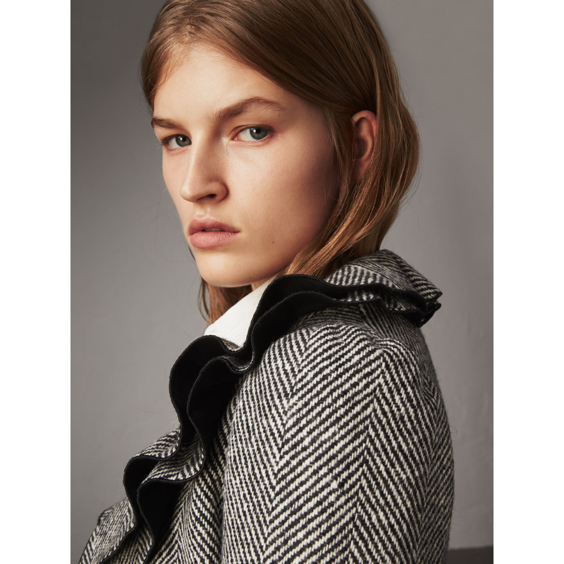 Ruffle Collar Donegal Herringbone Wool Jacket in Black - Women | Burberry - gallery image 2