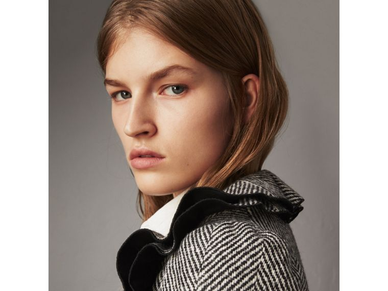 Ruffle Collar Donegal Herringbone Wool Jacket in Black - Women | Burberry - cell image 1