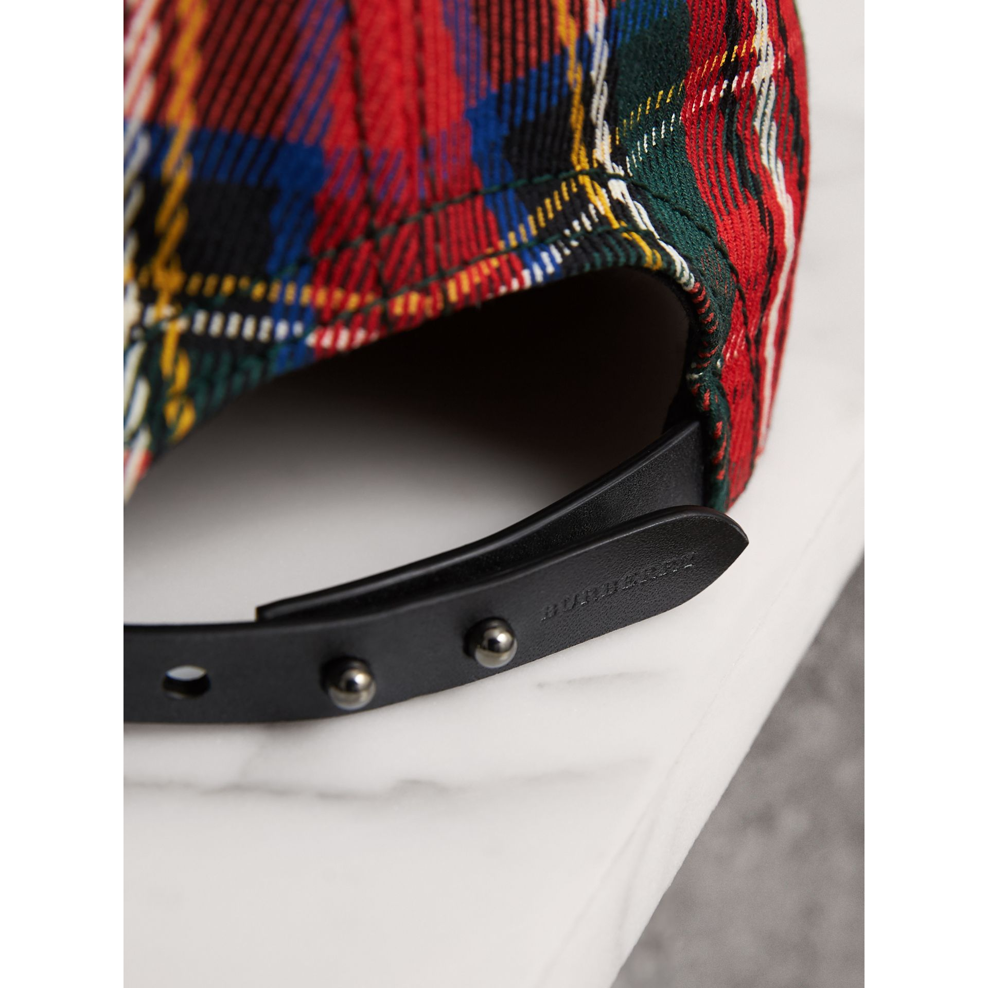 Tartan Baseball Cap in Bright Red | Burberry - gallery image 2