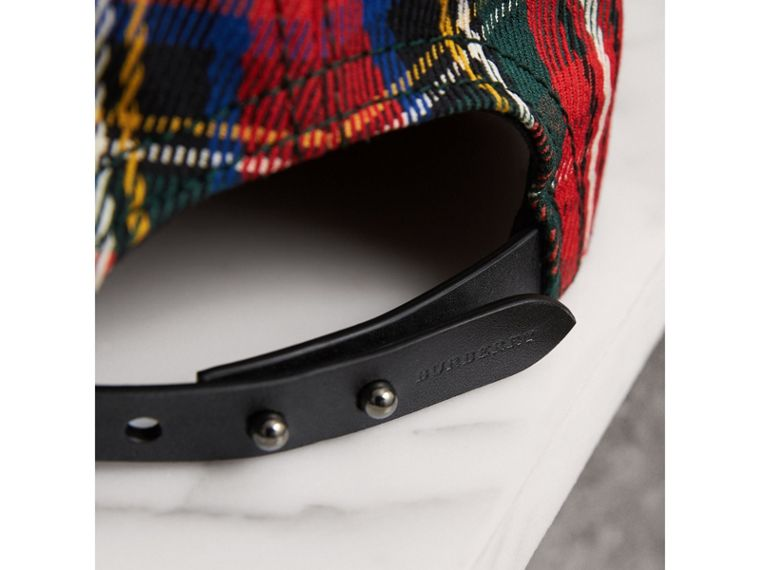 burberry baseball cap ebay original black cotton nova check trim tartan bright red cell image