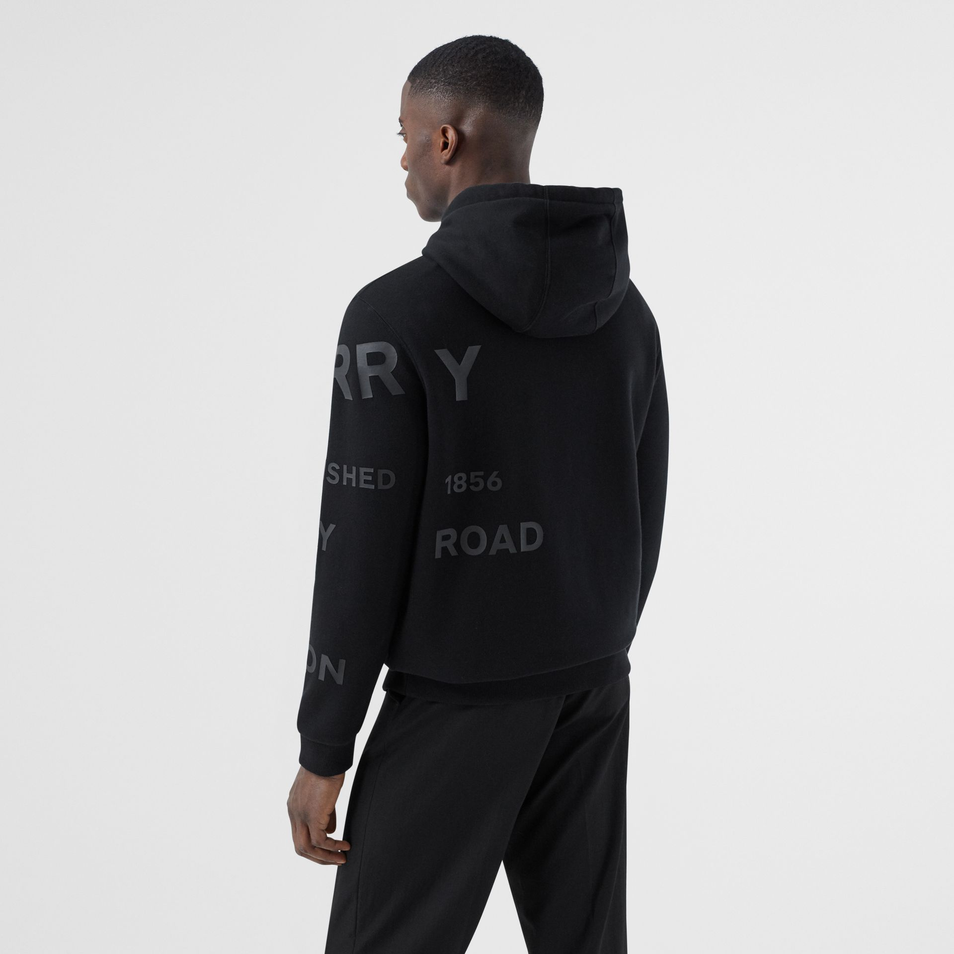 Horseferry Print Cotton Hoodie in Black | Burberry - gallery image 2