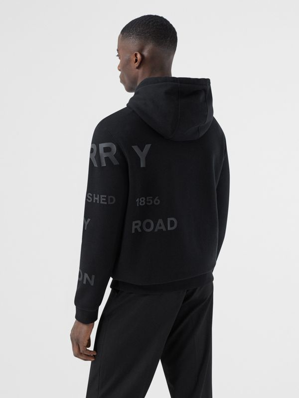 Horseferry Print Cotton Hoodie in Black | Burberry - cell image 2