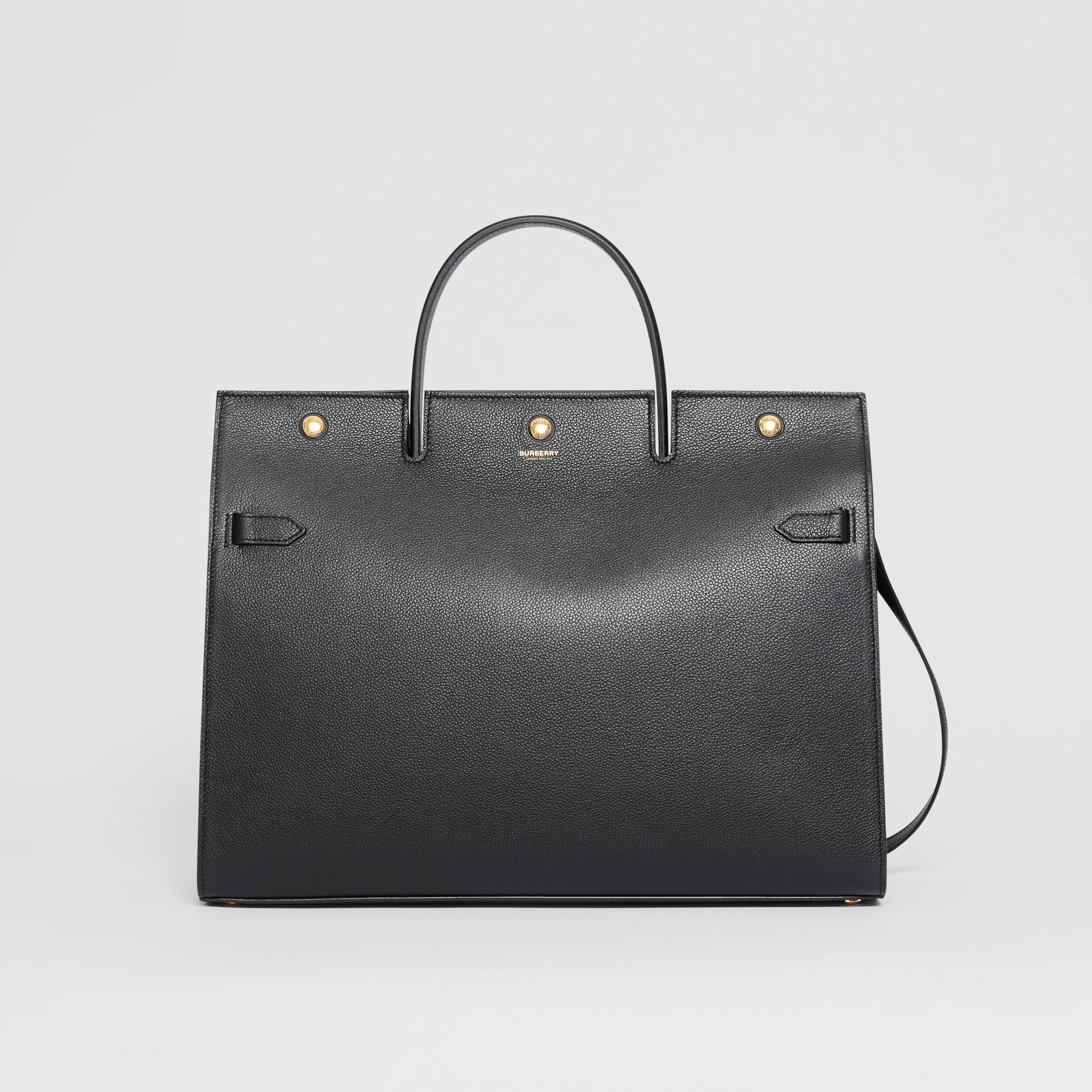 Large Leather Title Bag in Black - Women | Burberry - gallery image 0