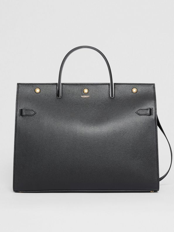 Large Leather Title Bag in Black