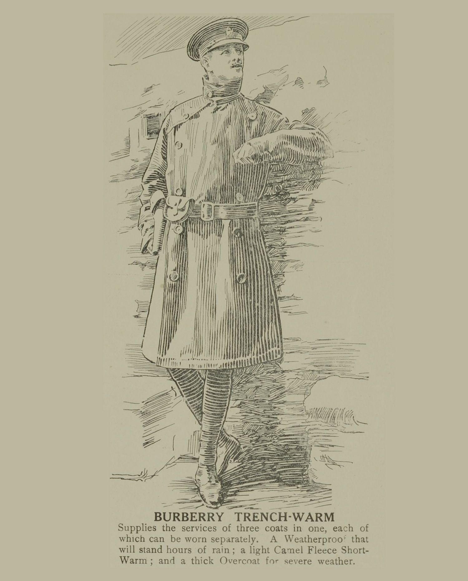 The Burberry trench coat is invented during the First World War. The functional design includes epaulettes used to suspend military equipment such as gloves and whistles, D-rings used to carry grenades, the gun flap to provide additional protection when in action and the storm shield to allow water to run off it smoothly.