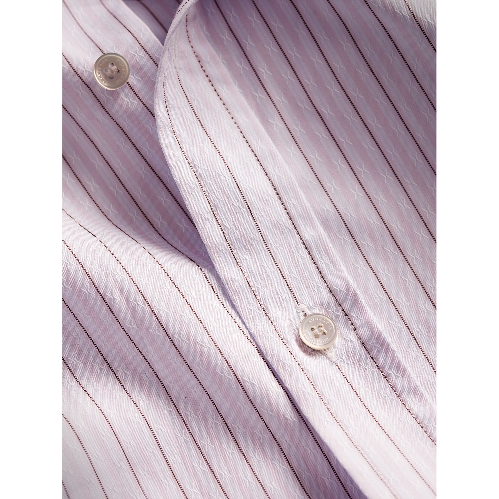 Slim Fit Striped Dobby Cotton Shirt in Pale Lilac - Men | Burberry - gallery image 1