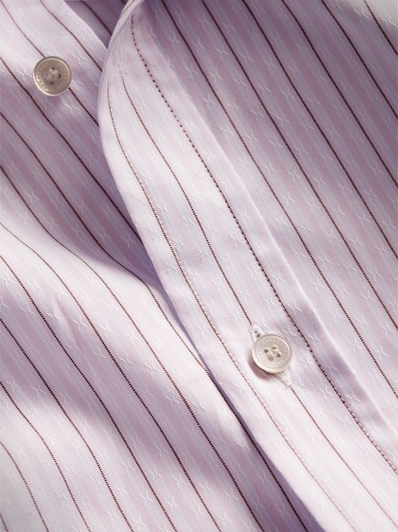 Slim Fit Striped Dobby Cotton Shirt in Pale Lilac - Men | Burberry - cell image 1