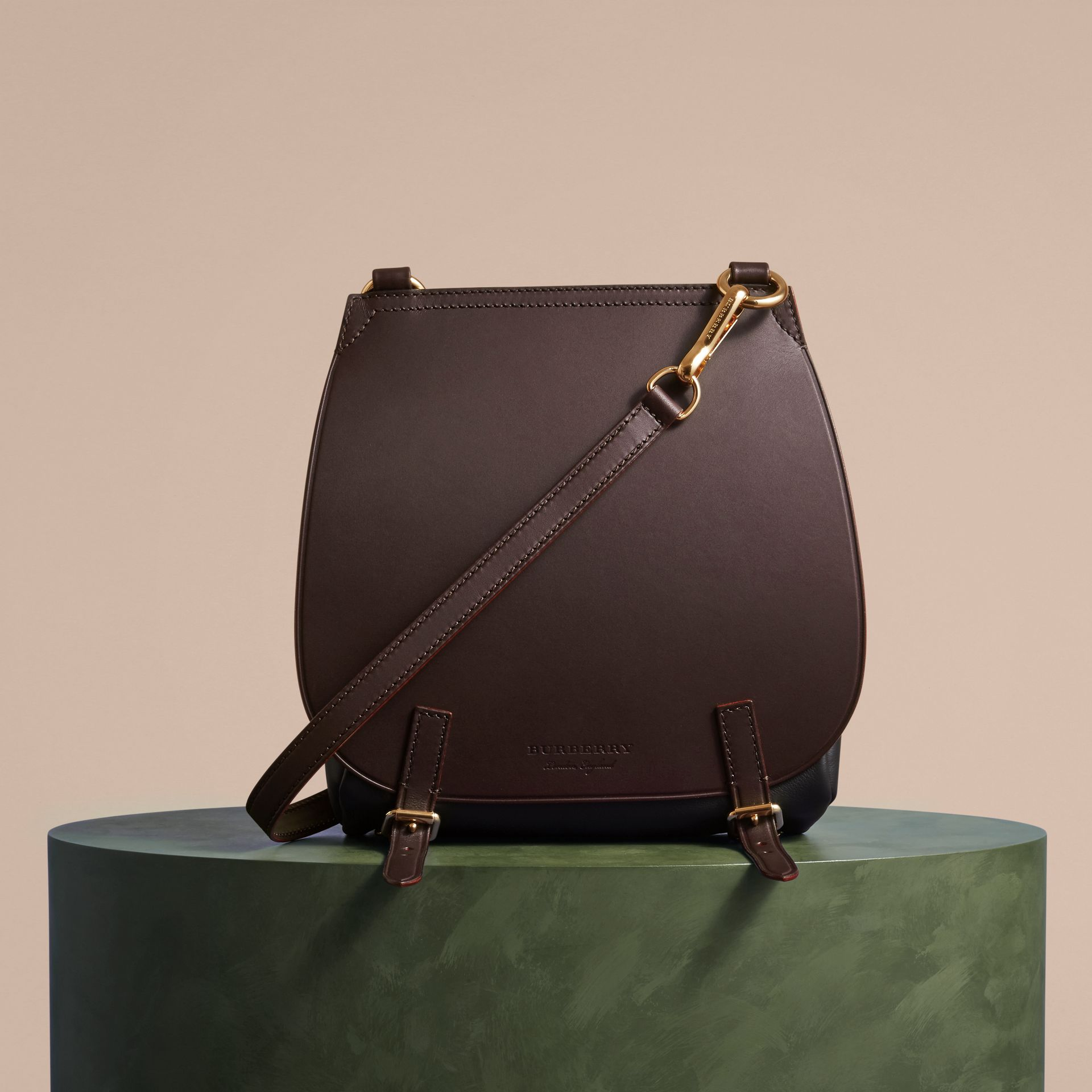 Wine The Small Bridle Bag in Leather - gallery image 8