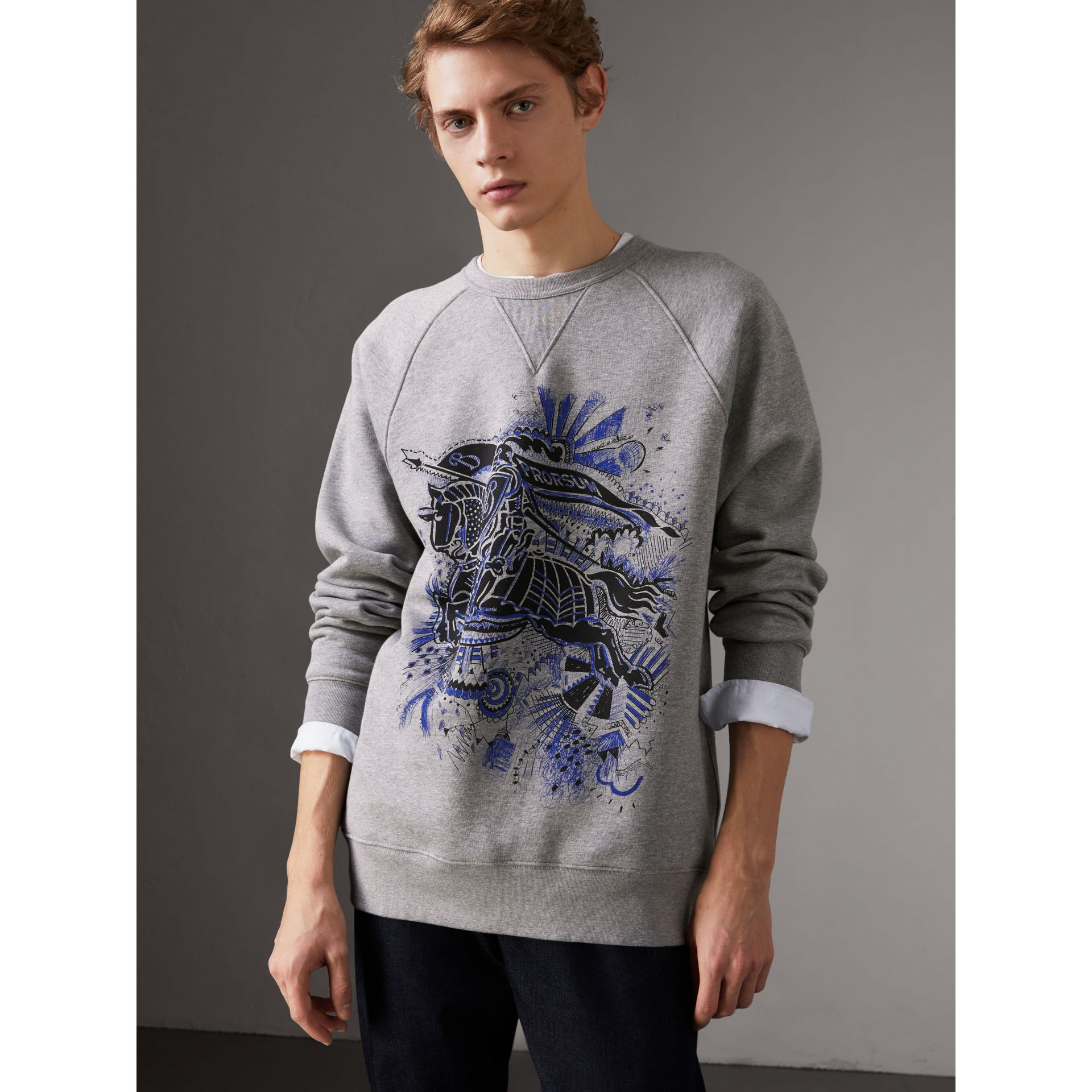 Doodle and Equestrian Knight Print Sweatshirt in Pale Grey Melange - Men | Burberry United Kingdom - gallery image 4