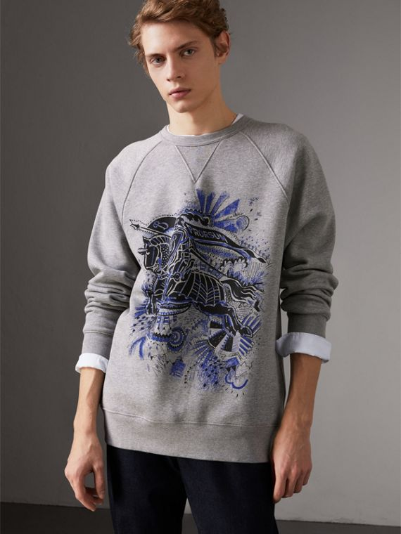 Doodle and Equestrian Knight Print Sweatshirt in Pale Grey Melange