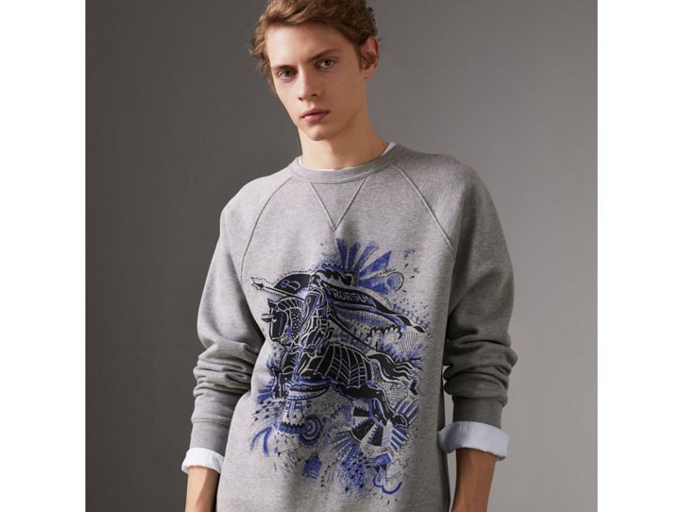 Doodle and Equestrian Knight Print Sweatshirt in Pale Grey Melange - Men | Burberry United Kingdom - cell image 4