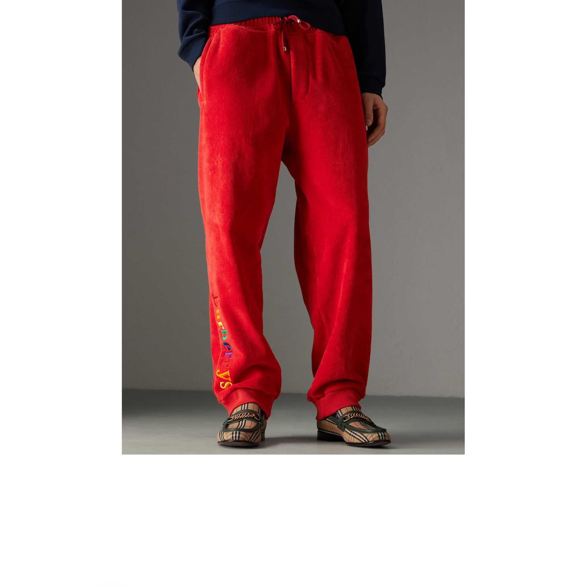 Archive Logo Towelling Sweatpants in Bright Red | Burberry United Kingdom - gallery image 4
