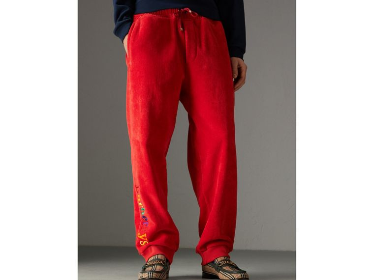 Archive Logo Towelling Sweatpants in Bright Red | Burberry - cell image 4