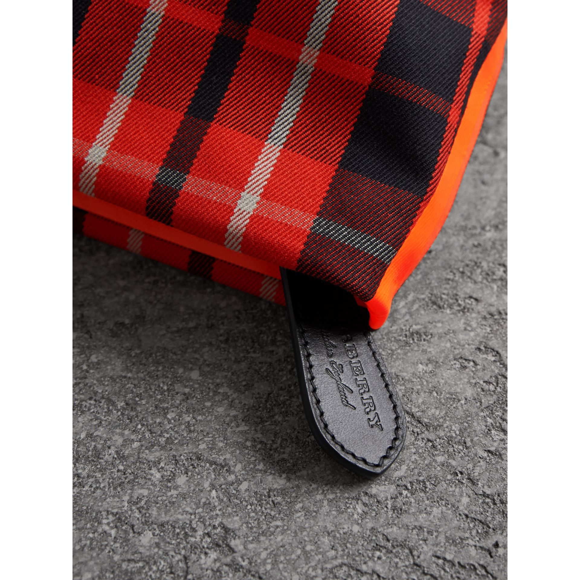 Tartan Cotton Clutch in Vibrant Red/flax Yellow | Burberry Australia - gallery image 2